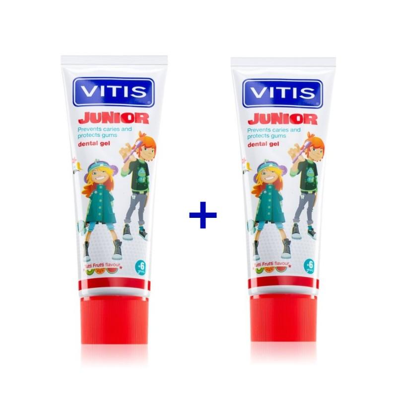 Pachet Promo 2 paste de dinti Vitis Junior Tutti-Frutti 75 ml DEntaid